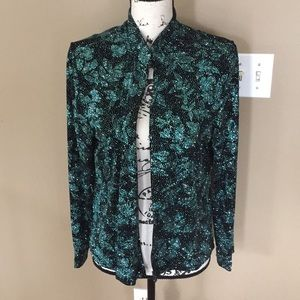 MSK glitter top teal and black leaves size L women